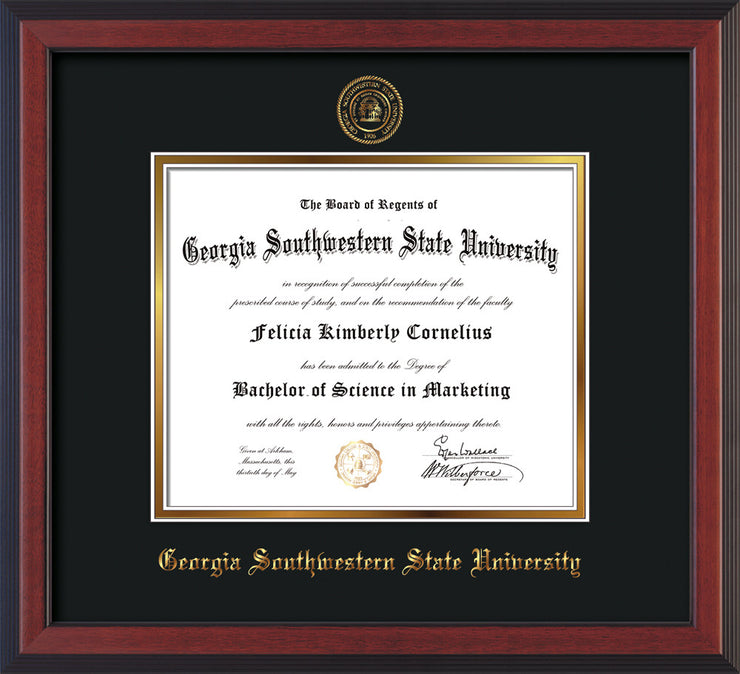 Image of Georgia Southwestern State Univerity Diploma Frame - Cherry Reverse - w/Embossed Seal & Name - Black on Gold mat