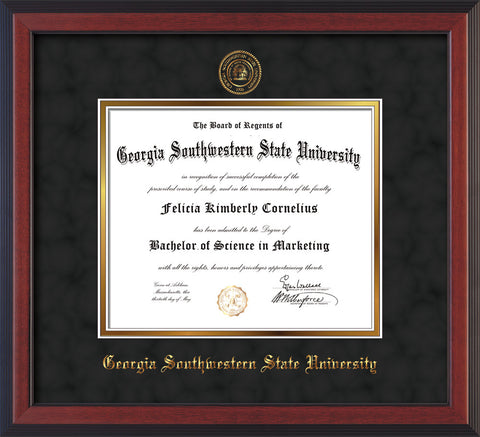 Image of Georgia Southwestern State Univerity Diploma Frame - Cherry Reverse - w/Embossed Seal & Name - Black Suede on Gold mat