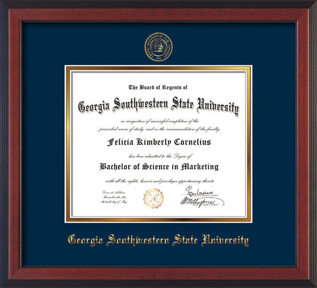 Image of Georgia Southwestern State Univerity Diploma Frame - Cherry Reverse - w/Embossed Seal & Name - Navy on Gold mat