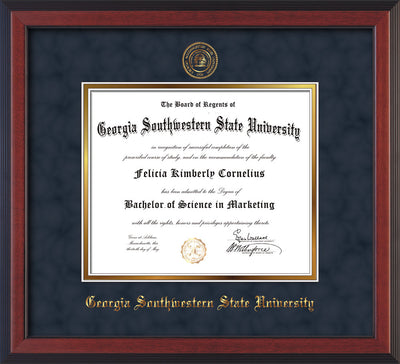 Image of Georgia Southwestern State Univerity Diploma Frame - Cherry Reverse - w/Embossed Seal & Name - Navy Suede on Gold mat