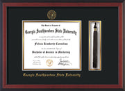 Image of Georgia Southwestern State Univerity Diploma Frame - Cherry Reverse - w/Embossed Seal & Name - Tassel Holder - Black on Gold mat