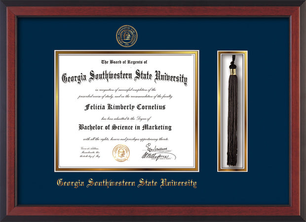 Image of Georgia Southwestern State Univerity Diploma Frame - Cherry Reverse - w/Embossed Seal & Name - Tassel Holder - Navy on Gold mat