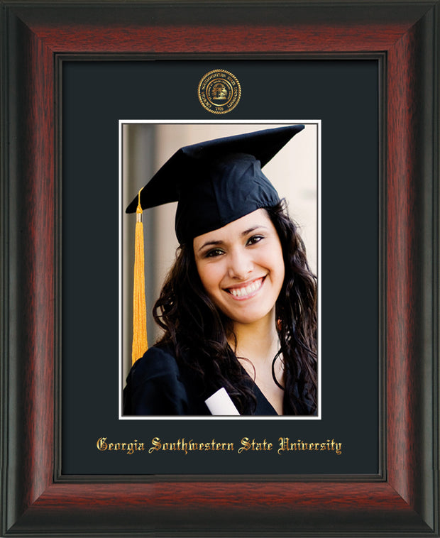 Image of Georgia Southwestern State University 5 x 7 Photo Frame - Rosewood - w/Official Embossing of GSW Seal & Name - Single Black mat