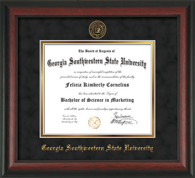 Image of Georgia Southwestern State Univerity Diploma Frame - Rosewood - w/Embossed Seal & Name - Black Suede on Gold mat