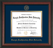 Image of Georgia Southwestern State Univerity Diploma Frame - Rosewood - w/Embossed Seal & Name - Navy on Gold mat