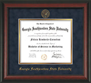 Image of Georgia Southwestern State Univerity Diploma Frame - Rosewood - w/Embossed Seal & Name - Navy Suede on Gold mat