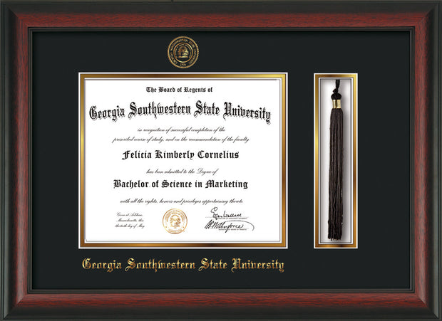 Image of Georgia Southwestern State Univerity Diploma Frame - Rosewood - w/Embossed Seal & Name - Tassel Holder - Black on Gold mat