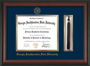 Image of Georgia Southwestern State Univerity Diploma Frame - Rosewood - w/Embossed Seal & Name - Tassel Holder - Navy on Gold mat