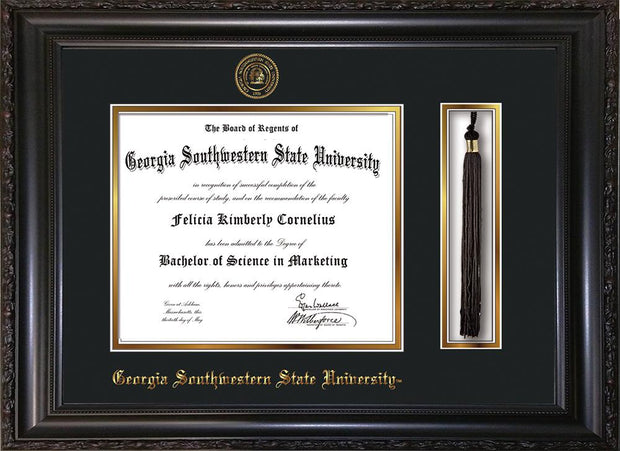 Image of Georgia Southwestern State University Diploma Frame - Vintage Black Scoop - w/Embossed Seal & Name - Tassel Holder - Black on Gold mat