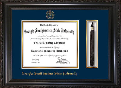 Image of Georgia Southwestern State University Diploma Frame - Vintage Black Scoop - w/Embossed Seal & Name - Tassel Holder - Navy on Gold mat