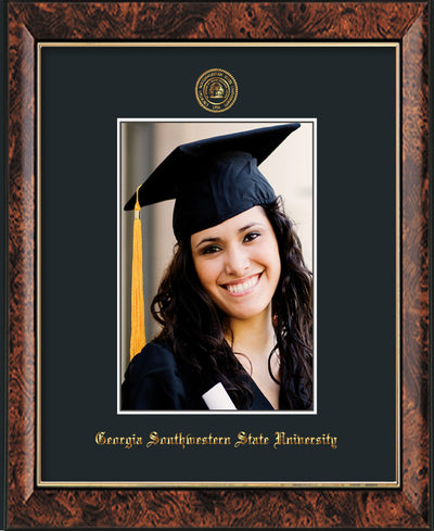 Image of Georgia Southwestern State University 5 x 7 Photo Frame - Walnut - w/Official Embossing of GSW Seal & Name - Single Black mat