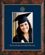 Image of Georgia Southwestern State University 5 x 7 Photo Frame - Walnut - w/Official Embossing of GSW Seal & Name - Single Navy mat