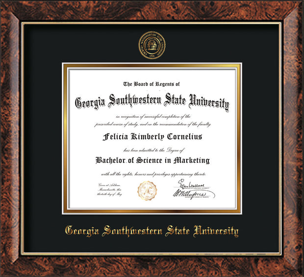Image of Georgia Southwestern State Univerity Diploma Frame - Walnut - w/Embossed Seal & Name - Black on Gold mat