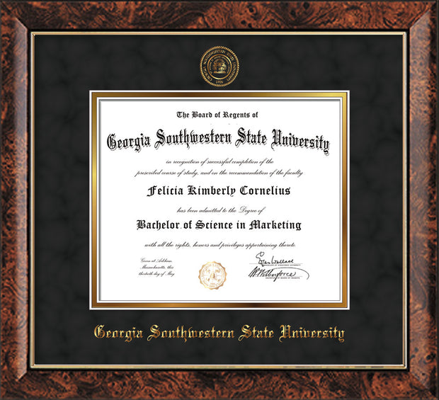 Image of Georgia Southwestern State Univerity Diploma Frame - Walnut - w/Embossed Seal & Name - Black Suede on Gold mat