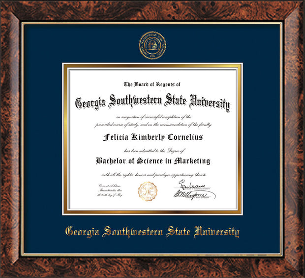Image of Georgia Southwestern State Univerity Diploma Frame - Walnut - w/Embossed Seal & Name - Navy on Gold mat