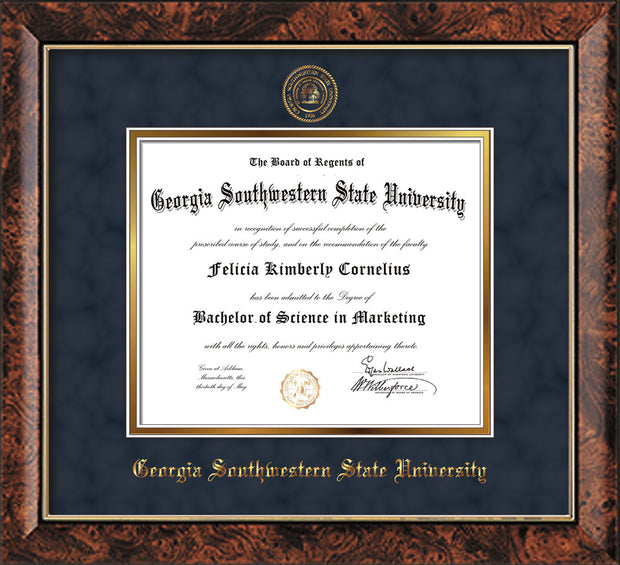 Image of Georgia Southwestern State Univerity Diploma Frame - Walnut - w/Embossed Seal & Name - Navy Suede on Gold mat