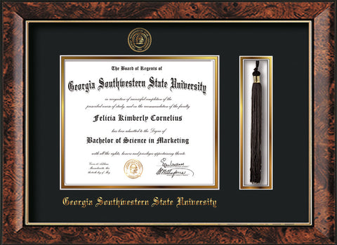 Image of Georgia Southwestern State Univerity Diploma Frame - Walnut - w/Embossed Seal & Name - Tassel Holder - Black on Gold mat