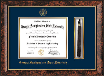 Image of Georgia Southwestern State Univerity Diploma Frame - Walnut - w/Embossed Seal & Name - Tassel Holder - Navy on Gold mat