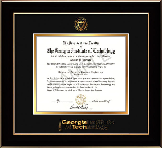 Image of Georgia Tech Diploma Frame - Black Lacquer - w/Embossed Seal & Wordmark - Black on Gold Mat