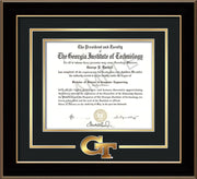 Image of Georgia Tech Diploma Frame - Black Lacquer - w/3-D Laser GT Logo Cutout - Black on Gold mat
