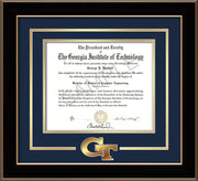 Image of Georgia Tech Diploma Frame - Black Lacquer - w/3-D Laser GT Logo Cutout - Navy on Gold mat