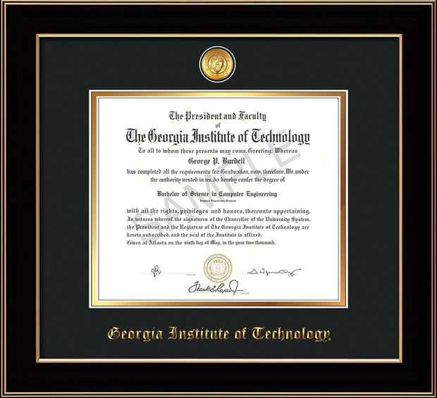 Image of Georgia Tech Diploma Frame - Black Lacquer - w/24k Gold-plated Medallion - Black on Gold mat