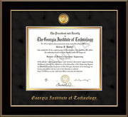 Image of Georgia Tech Diploma Frame - Black Lacquer - w/24k Gold-plated Medallion - Black Suede on Gold mat