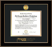 Image of Georgia Tech Diploma Frame - Black Lacquer - w/24k Gold Plated Medallion GT Wordmark Embossing - Black on Gold Mat
