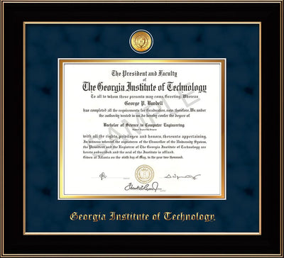Image of Georgia Tech Diploma Frame - Black Lacquer - w/24k Gold-plated Medallion - Navy Suede on Gold mat