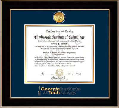 Image of Georgia Tech Diploma Frame - Black Lacquer - w/24k Gold Plated Medallion GT Wordmark Embossing - Navy on Gold Mat