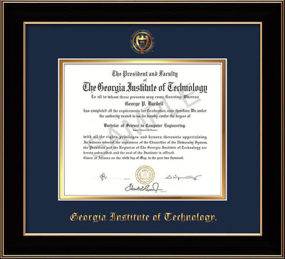 Image of Georgia Tech Diploma Frame - Black Lacquer - w/Embossed Seal & Name - Navy on Gold mat
