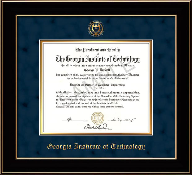 Image of Georgia Tech Diploma Frame - Black Lacquer - w/Embossed Seal & Name - Navy Suede on Gold mat