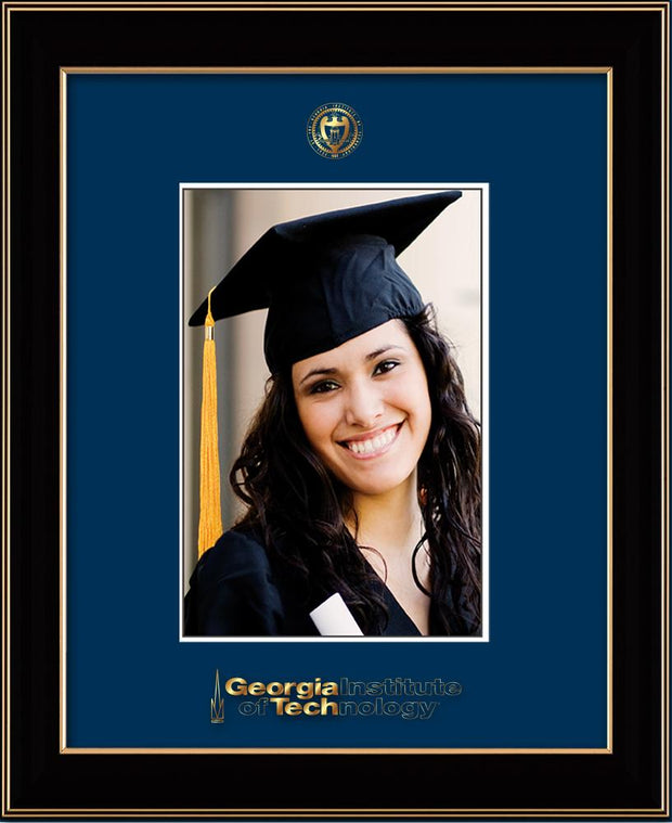 Image of Georgia Tech 5 x 7 Photo Frame - Black Lacquer - w/Official Embossing of GT Seal & Name - Single Navy mat