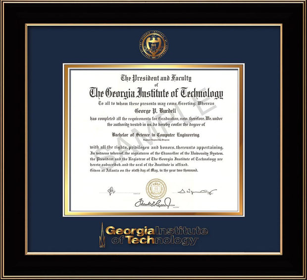 Image of Georgia Tech Diploma Frame - Black Lacquer - w/Embossed Seal & Wordmark - Navy on Gold Mat