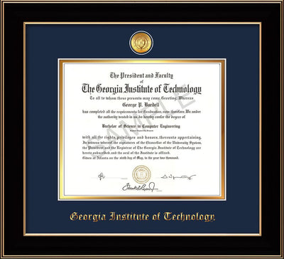 Image of Georgia Tech Diploma Frame - Black Lacquer - w/24k Gold-plated Medallion - Navy on Gold mat