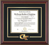 Image of Georgia Tech Diploma Frame - Cherry Lacquer - w/3-D Laser GT Logo Cutout - Black on Gold mat