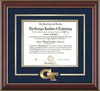 Image of Georgia Tech Diploma Frame - Cherry Lacquer - w/3-D Laser GT Logo Cutout - Navy on Gold mat