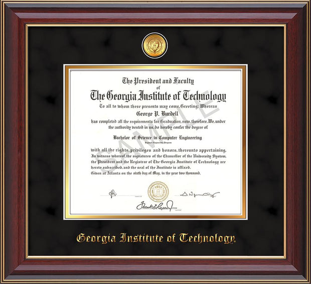 Image of Georgia Tech Diploma Frame - Cherry Lacquer - w/24k Gold-plated Medallion - Black Suede on Gold mat