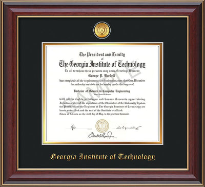 Image of Georgia Tech Diploma Frame - Cherry Lacquer - w/24k Gold-plated Medallion - Black on Gold mat