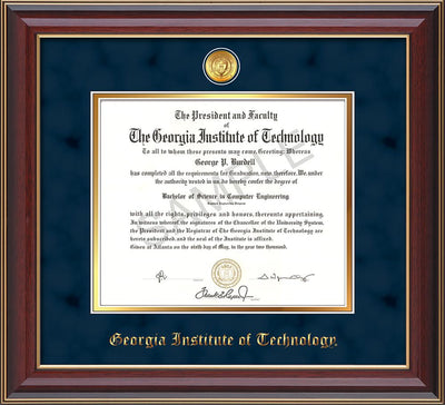 Image of Georgia Tech Diploma Frame - Cherry Lacquer - w/24k Gold-plated Medallion - Navy Suede on Gold mat