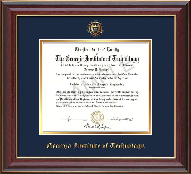 Image of Georgia Tech Diploma Frame - Cherry Lacquer - w/Embossed Seal & Name - Navy on Gold mat