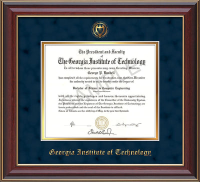 Image of Georgia Tech Diploma Frame - Cherry Lacquer - w/Embossed Seal & Name - Navy Suede on Gold mat