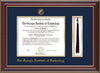 Image of Georgia Tech Diploma Frame - Cherry Lacquer - w/Embossed Seal & Name - Tassel Holder - Navy on Gold Mat