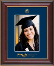 Image of Georgia Tech 5 x 7 Photo Frame - Cherry Lacquer - w/Official Embossing of GT Seal & Wordmark - Single Navy mat