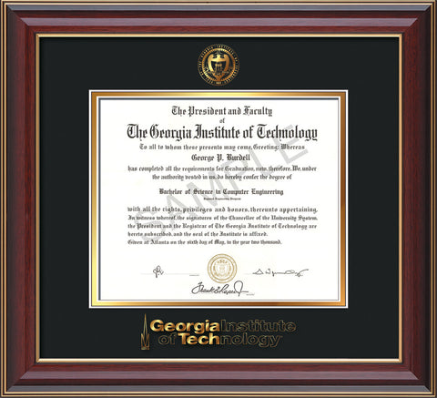 Image of Georgia Tech Diploma Frame - Cherry Lacquer - w/Embossed Seal & Wordmark - Black on Gold Mat