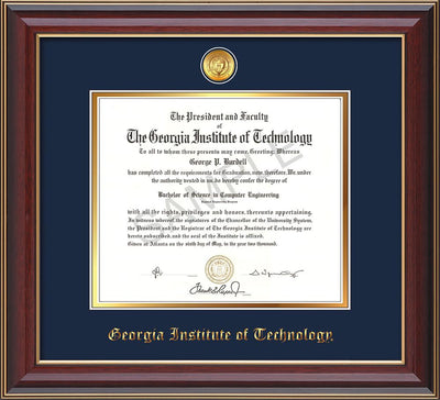 Image of Georgia Tech Diploma Frame - Cherry Lacquer - w/24k Gold-plated Medallion - Navy on Gold mat