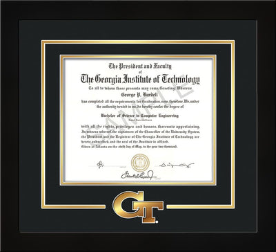 Image of Georgia Tech Diploma Frame - Flat Matte Black - w/3-D Laser GT Logo Cutout - Black on Gold mat