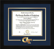 Image of Georgia Tech Diploma Frame - Flat Matte Black - w/3-D Laser GT Logo Cutout - Navy on Gold mat