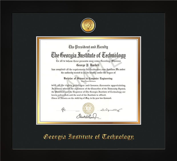Image of Georgia Tech Diploma Frame - Flat Matte Black - w/24k Gold-plated Medallion - Black on Gold mat