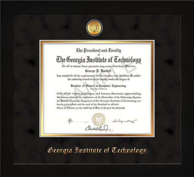 Image of Georgia Tech Diploma Frame - Flat Matte Black - w/24k Gold-plated Medallion - Black Suede on Gold mat